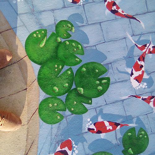 """Initiatives77 - Détails de la peinture trompe-l'œil """"bassin à poissons"""""""