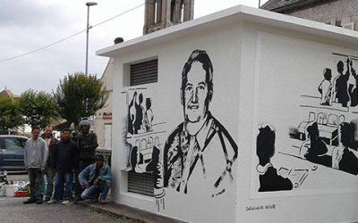 La réalisation d'une fresque en hommage à un instituteur de Château-Landon