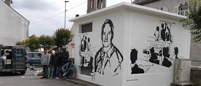 Actualité Initiatives77 : réalisation d'une fresque en hommage à un instituteur de Château-Landon