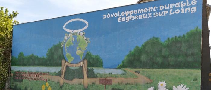 """Actualité Initiatives77 : Réalisation d'une fresque sur le parcours de """"La Scandibérique"""" à Bagneaux"""
