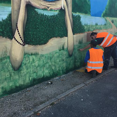 """Initiatives77 - Réalisation d'une fresque sur le parcours de """"La Scandibérique"""" à Bagneaux"""
