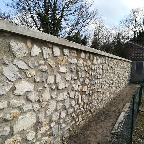 Initiatives77 - Rénovation du mur du cimetière du Bourg à Mitry-Mory (après)